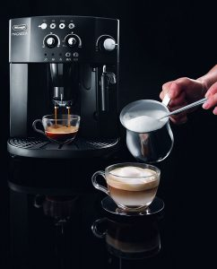 DeLonghi with cup of Frothed Milk