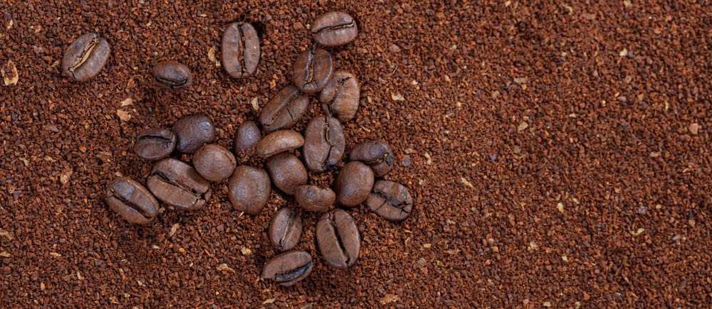 Coarse ground coffee beans