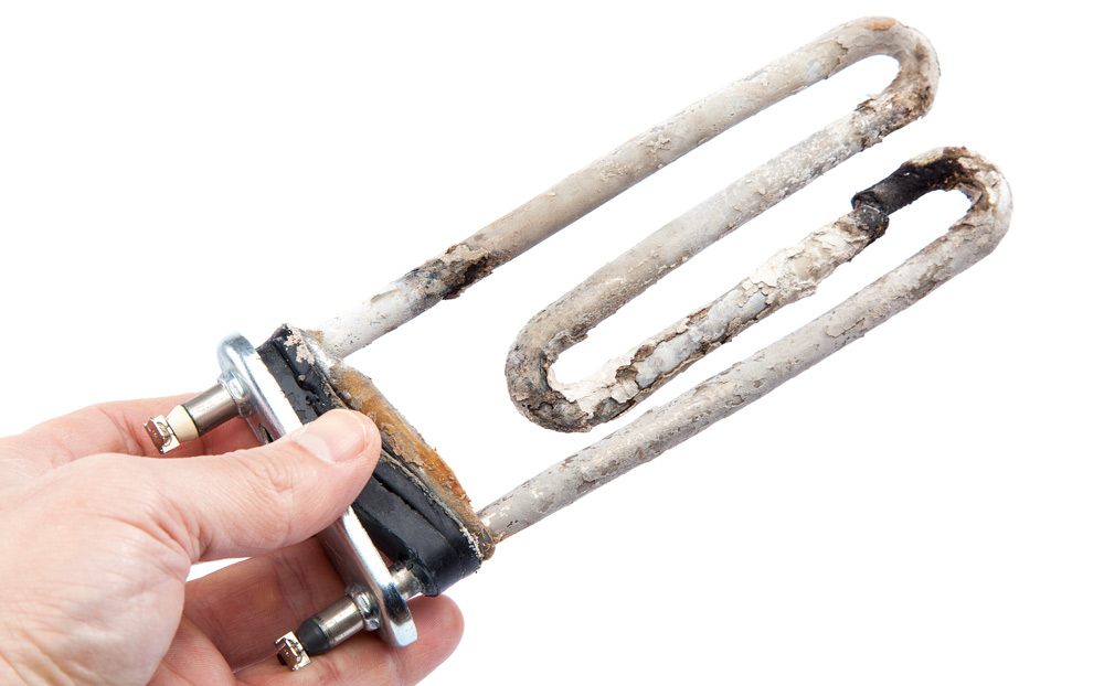Example of limescale build-up